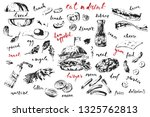 hand drawn black and white ink... | Shutterstock .eps vector #1325762813