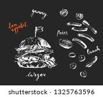 hand drawn white chalk fast... | Shutterstock .eps vector #1325763596