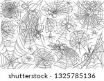 hand drawn spider and web.... | Shutterstock .eps vector #1325785136