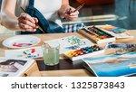 studio workplace. painting... | Shutterstock . vector #1325873843