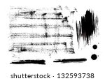 black ink vector set of strokes ... | Shutterstock .eps vector #132593738