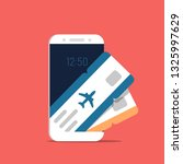 airline tickets on smartphone... | Shutterstock .eps vector #1325997629
