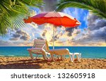 beach chair and umbrella with... | Shutterstock . vector #132605918