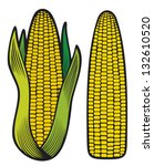 corn  corncob with green leaves  | Shutterstock .eps vector #132610520