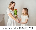daughter and motherin white... | Shutterstock . vector #1326161399