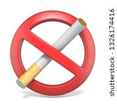 no smoking red sign 3d... | Shutterstock . vector #1326174416