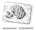 sketch hand drawn grilled steak ... | Shutterstock .eps vector #1326209540