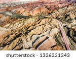 top view of rainbow mountains... | Shutterstock . vector #1326221243