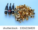 several gold plated video cable ... | Shutterstock . vector #1326226820