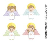 angel cartoon over white... | Shutterstock .eps vector #132622949