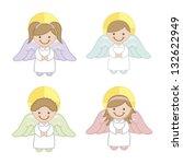 angel cartoon over white...   Shutterstock .eps vector #132622949
