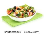 Greek Salad In Plate Isolated...