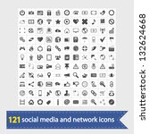 121 social media and network... | Shutterstock .eps vector #132624668