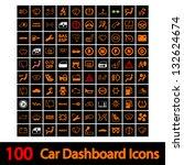 100 Car Dashboard Icons. Vecto...