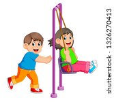 brother pushing sister on swing | Shutterstock . vector #1326270413