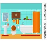 bathroom with wardrobe  toilet  ... | Shutterstock .eps vector #1326350783