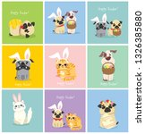 vector easter card with cute... | Shutterstock .eps vector #1326385880