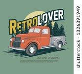 old truck vector drawing... | Shutterstock .eps vector #1326391949