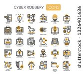 cyber robbery   thin line and... | Shutterstock .eps vector #1326401636