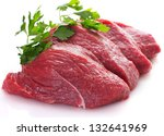 Raw Beef Isolated On White...