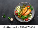 grilled salmon fish steak ... | Shutterstock . vector #1326476636