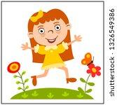 funny girl in cartoon style... | Shutterstock .eps vector #1326549386