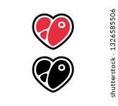cartoon heart shaped steak icon ... | Shutterstock .eps vector #1326585506