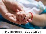 baby holding adult finger | Shutterstock . vector #132662684
