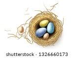 quail eggs in nest. realistic... | Shutterstock .eps vector #1326660173