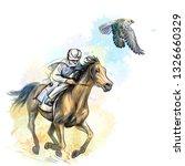 Arab Man Gallops A Horse...