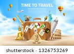 time to travel poster. vector... | Shutterstock .eps vector #1326753269