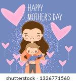 cute mom hugging her son for... | Shutterstock .eps vector #1326771560