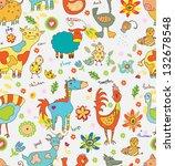 funny cartoon farm animals... | Shutterstock . vector #132678548