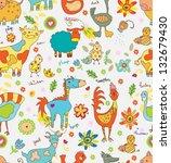 funny cartoon farm animals... | Shutterstock .eps vector #132679430