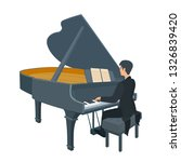 young pianist sitting at the... | Shutterstock .eps vector #1326839420