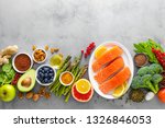 healthy food background  salmon ... | Shutterstock . vector #1326846053