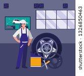 mechanic worker with tire car... | Shutterstock .eps vector #1326850463