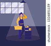 mechanic worker with oil gallon | Shutterstock .eps vector #1326851159
