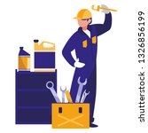 mechanic worker with toolbox | Shutterstock .eps vector #1326856199