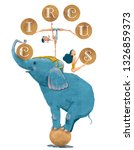 cute circus elephant with... | Shutterstock . vector #1326859373