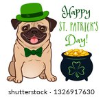 cute pug dog in st. patrick's... | Shutterstock .eps vector #1326917630