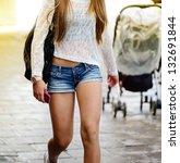 Shopping girl walking - stock photo