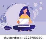 woman using laptop computer | Shutterstock .eps vector #1326950390