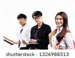 three yound teenagers doing...   Shutterstock . vector #1326988313