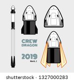 SpaceX rocket Falcon 9, Crew Dragon space craft isolated set. 2019 March, 2 rocket launching by Elon Musk. Vector poster spaceship. Spaceship isolated cartoon art, vector retro style illustration.