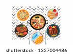 top view of food on table.pizza ... | Shutterstock . vector #1327004486