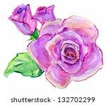 watercolor rose flower | Shutterstock . vector #132702299