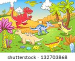 cute dinosaurs in prehistoric... | Shutterstock .eps vector #132703868
