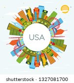 usa skyline with color...   Shutterstock . vector #1327081700