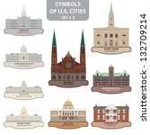 symbols of us cities. set 5.... | Shutterstock .eps vector #132709214